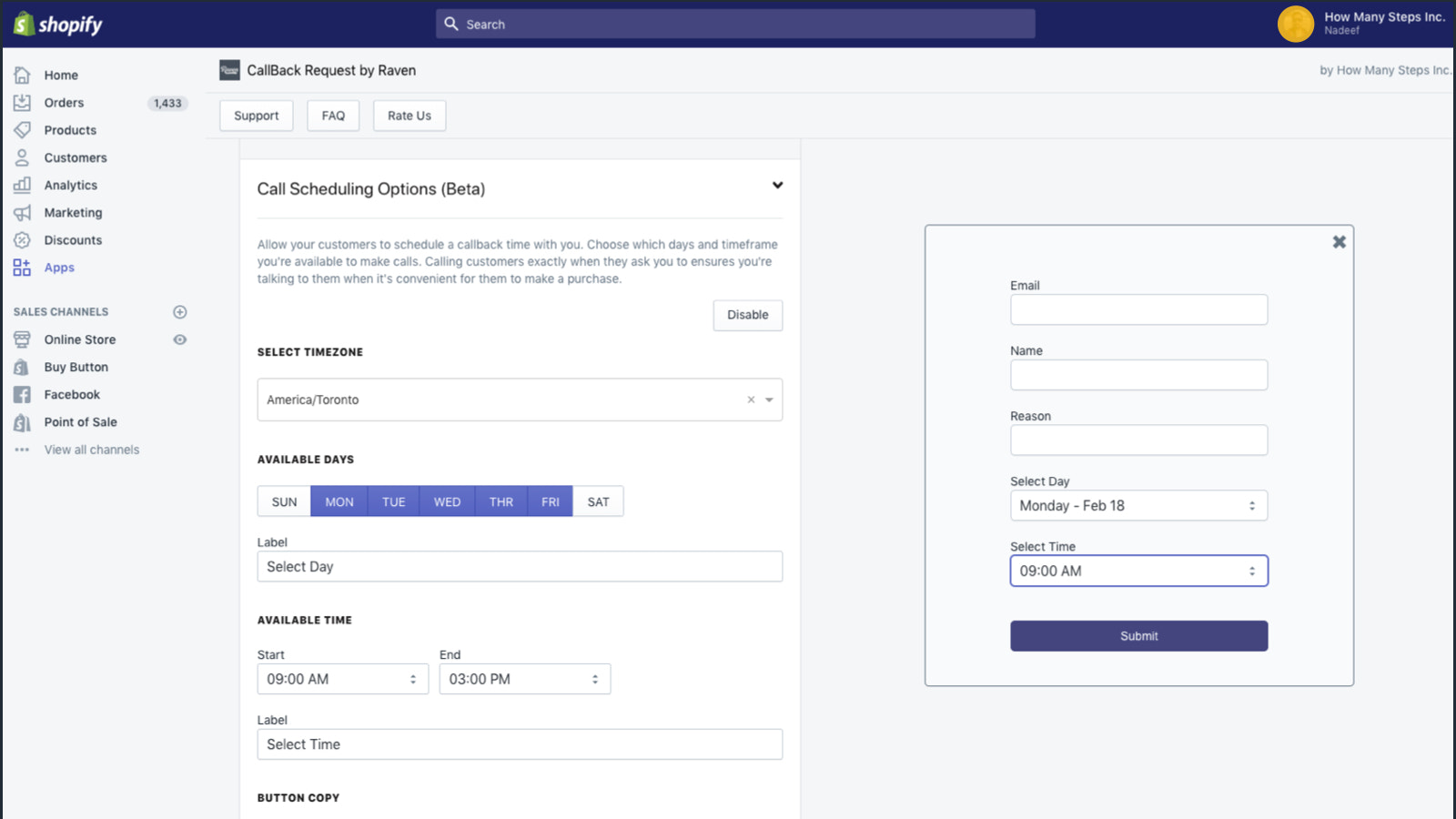 Scheduling callbacks on Shopify - phone, sms or whatsapp