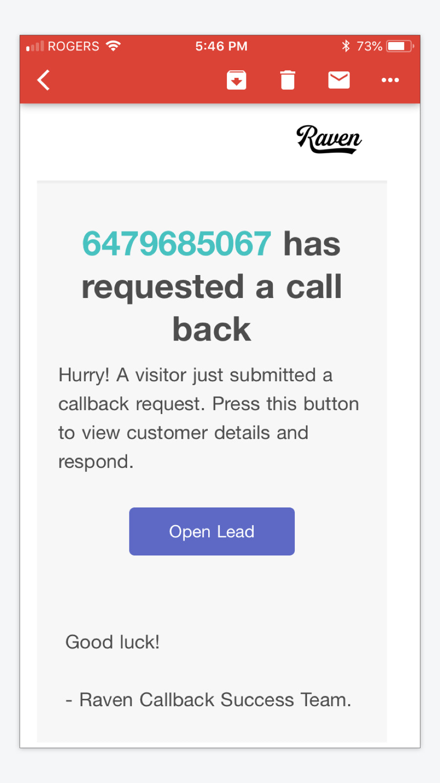 callback email alert for callback request