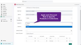 Apply each Discount Rule to Specific Products or Collections