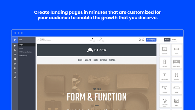 Create a landing page in minutes