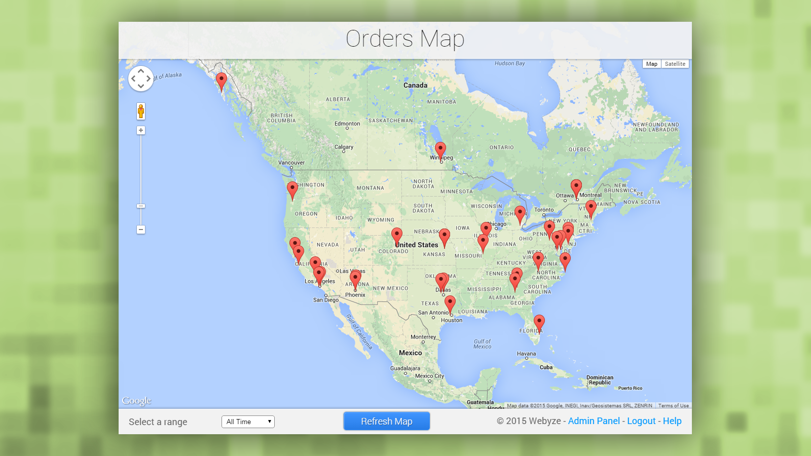 All orders on the map