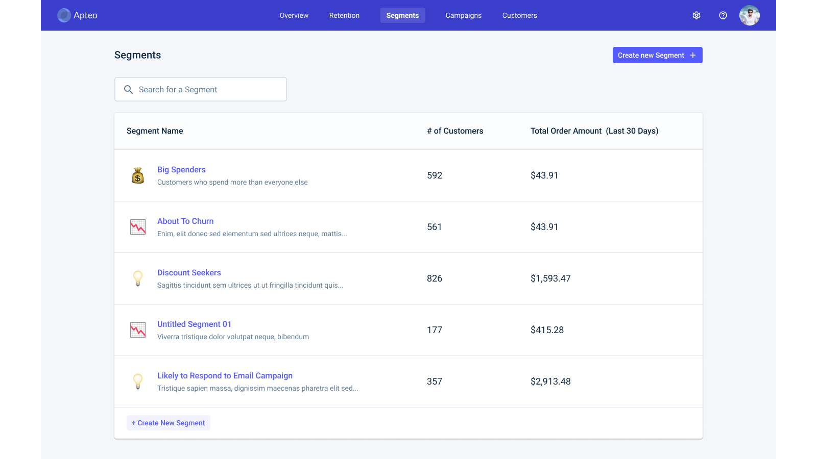You'll have automatically generated segments right at the start