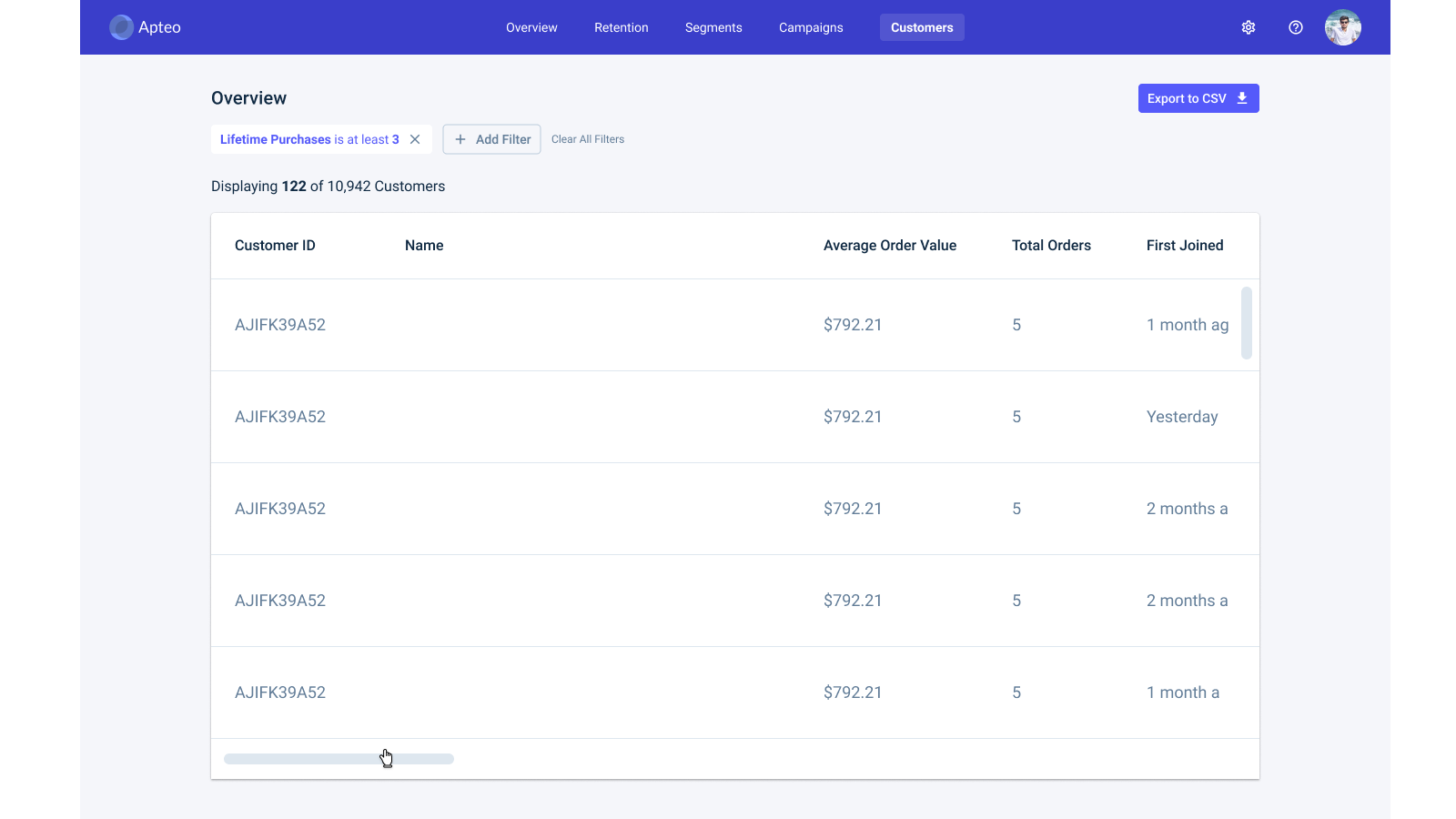 Filter and search for customers, then export a list of them