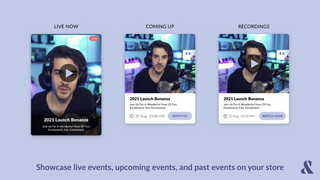 Showcase live shopping streams, upcoming events, and past events