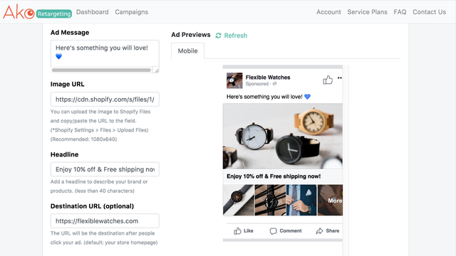Collection retargeting ads