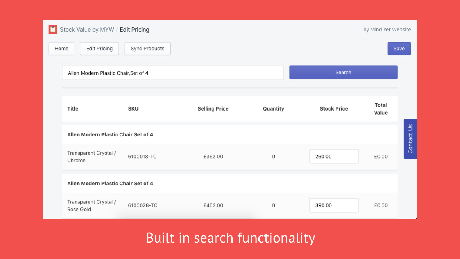 Built in search functionality