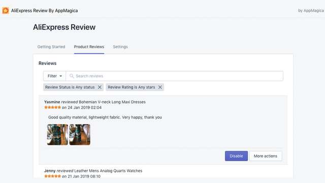 Imported Product Reviews In App Admin
