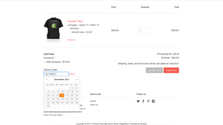 Extra product fees/charges - Frontend view