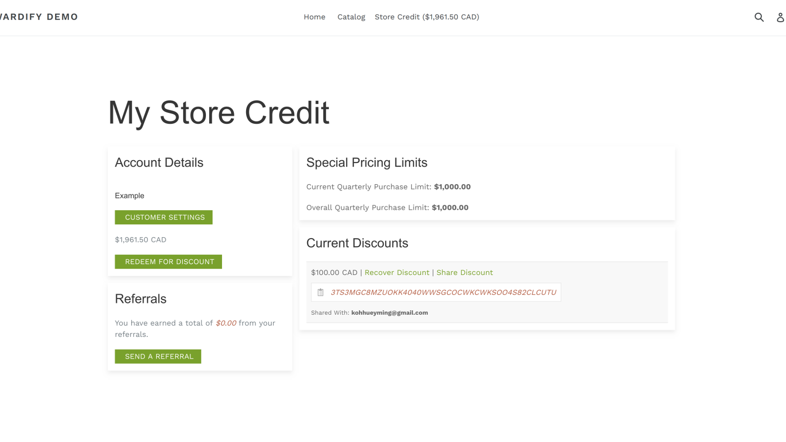 My Store Credit Page