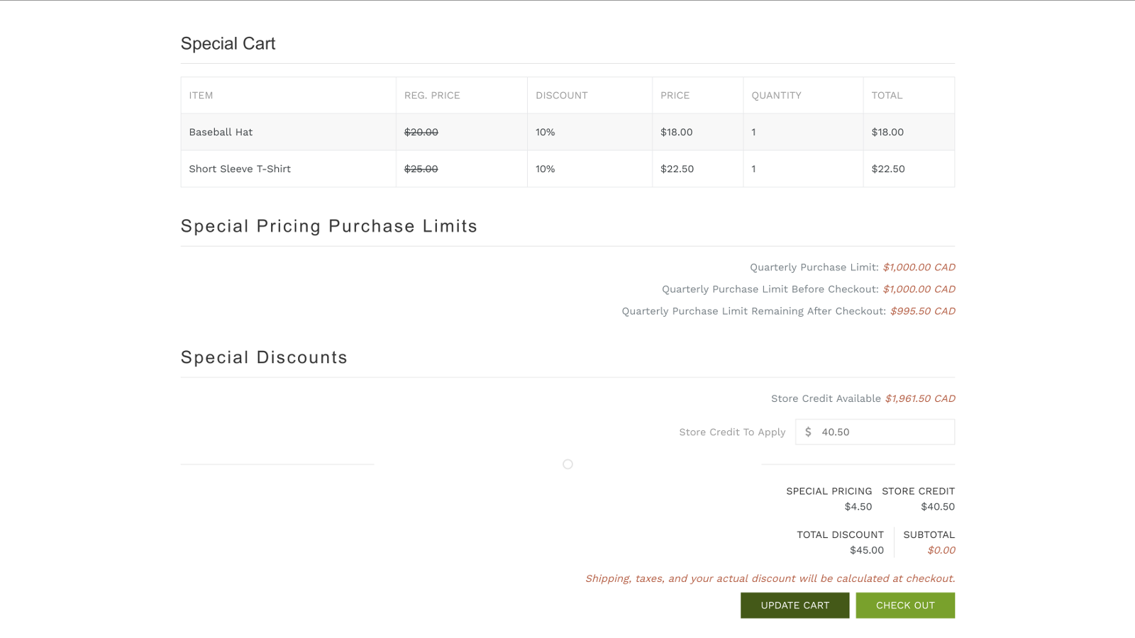 Special Pricing Checkout