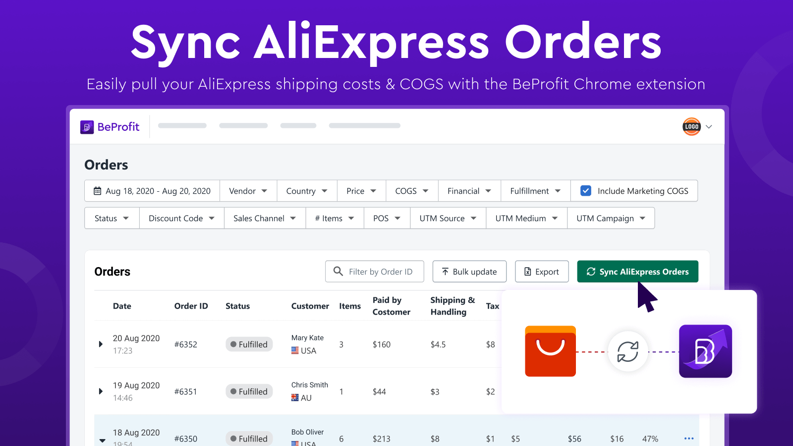Sync your AliExpress orders with the BeProfit Chrome extension