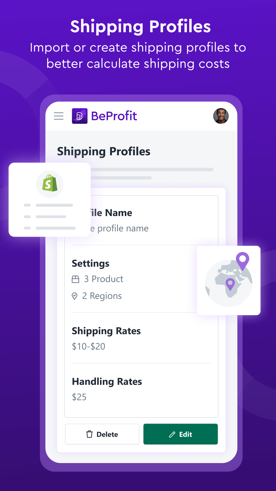 Import or create shipping profiles to calculate shipping costs