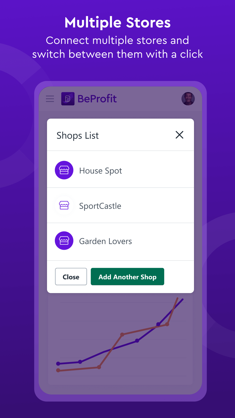 Connect multiple stores and switch between them with one click