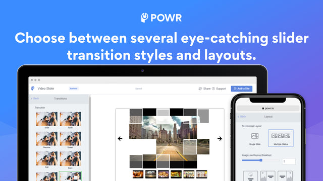 Choose between several eye-catching transitions and layouts