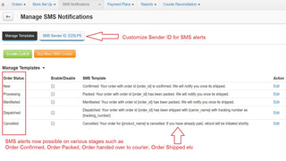 SMS alerts templates - Shipping