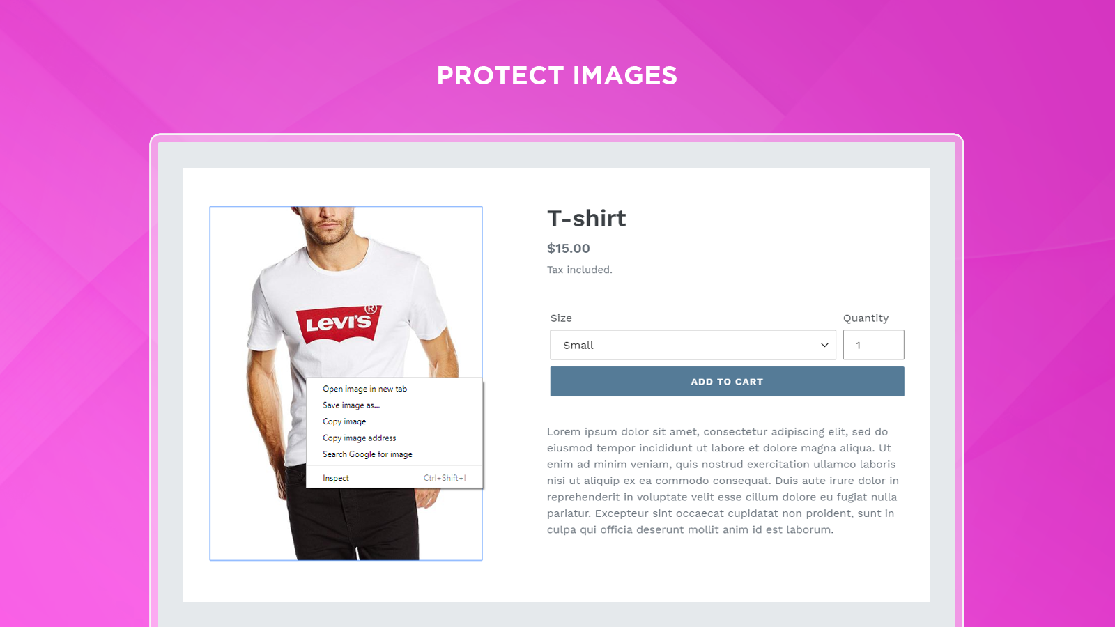 Protects texts, images and best selling of your Shopify store