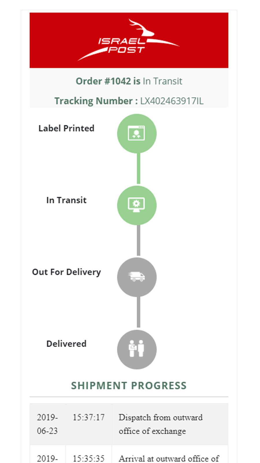Branded Tracking Page in mobile