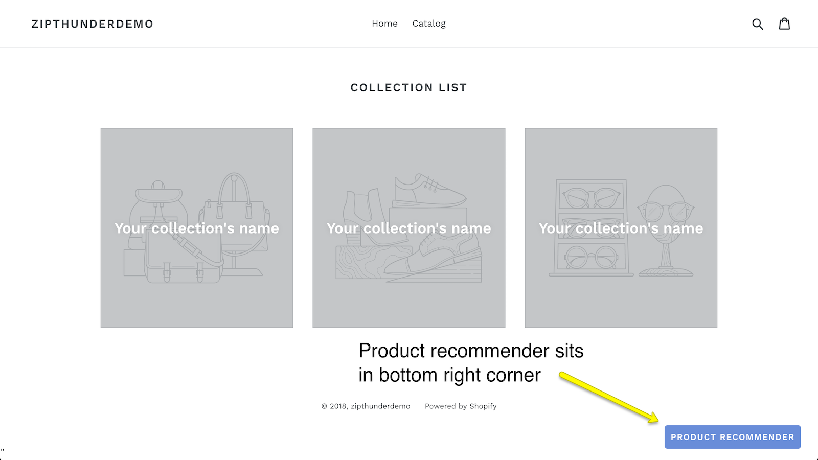 product recommender sits in right corner