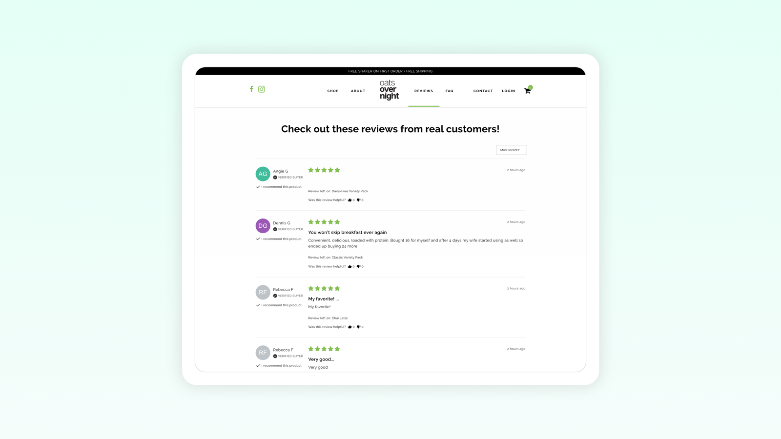 Dedicated store reviews & product reviews page