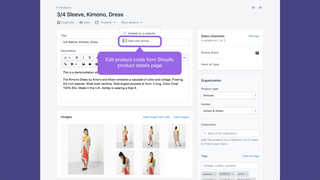 Edit costs link from Shopify product details page