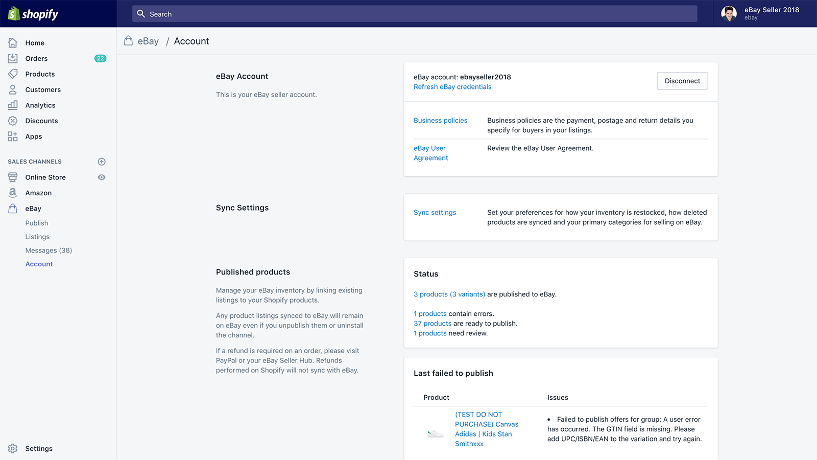Manage your eBay business policies from inside Shopify