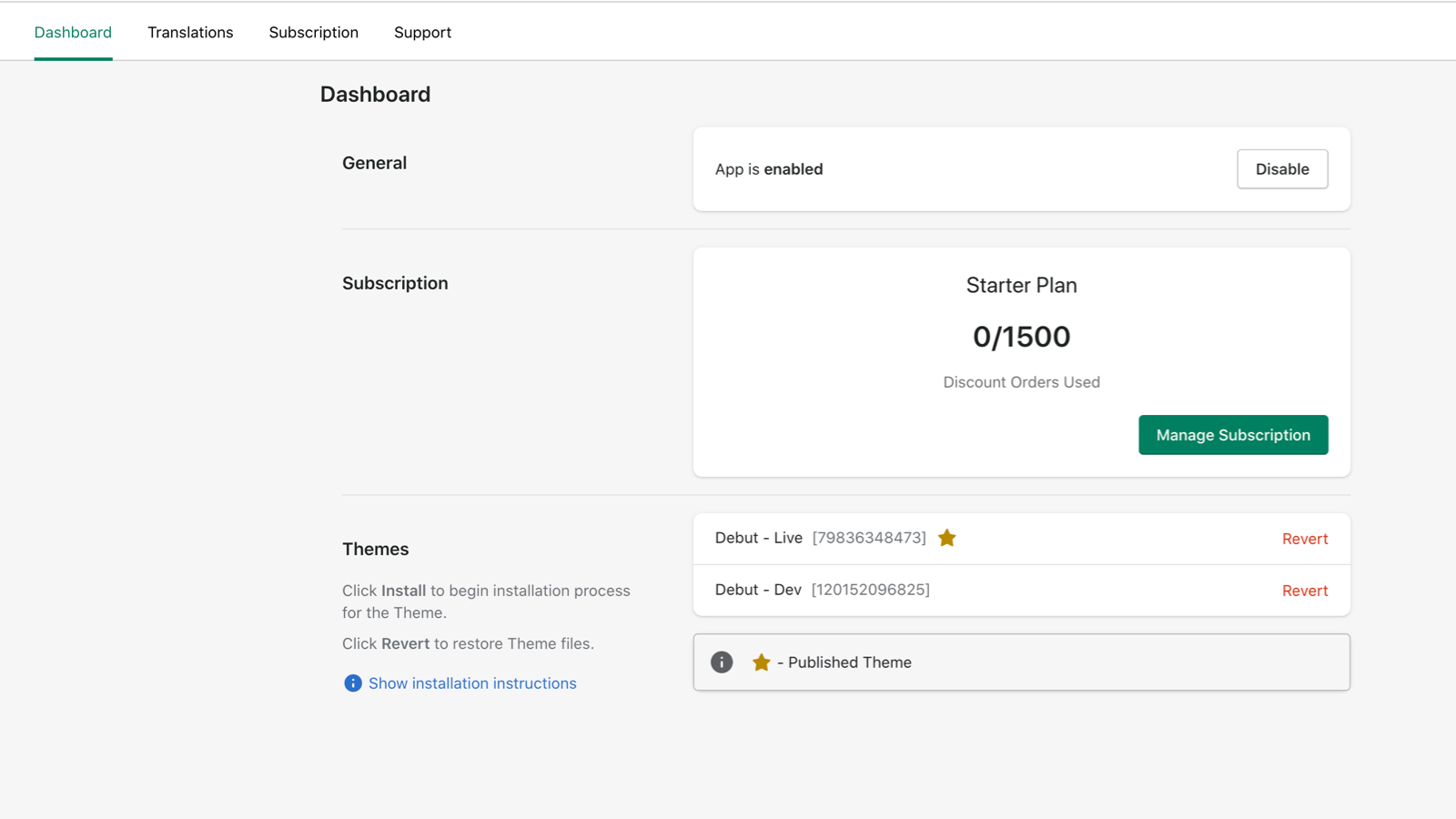 Simple dashboard for installation, subscription and enable