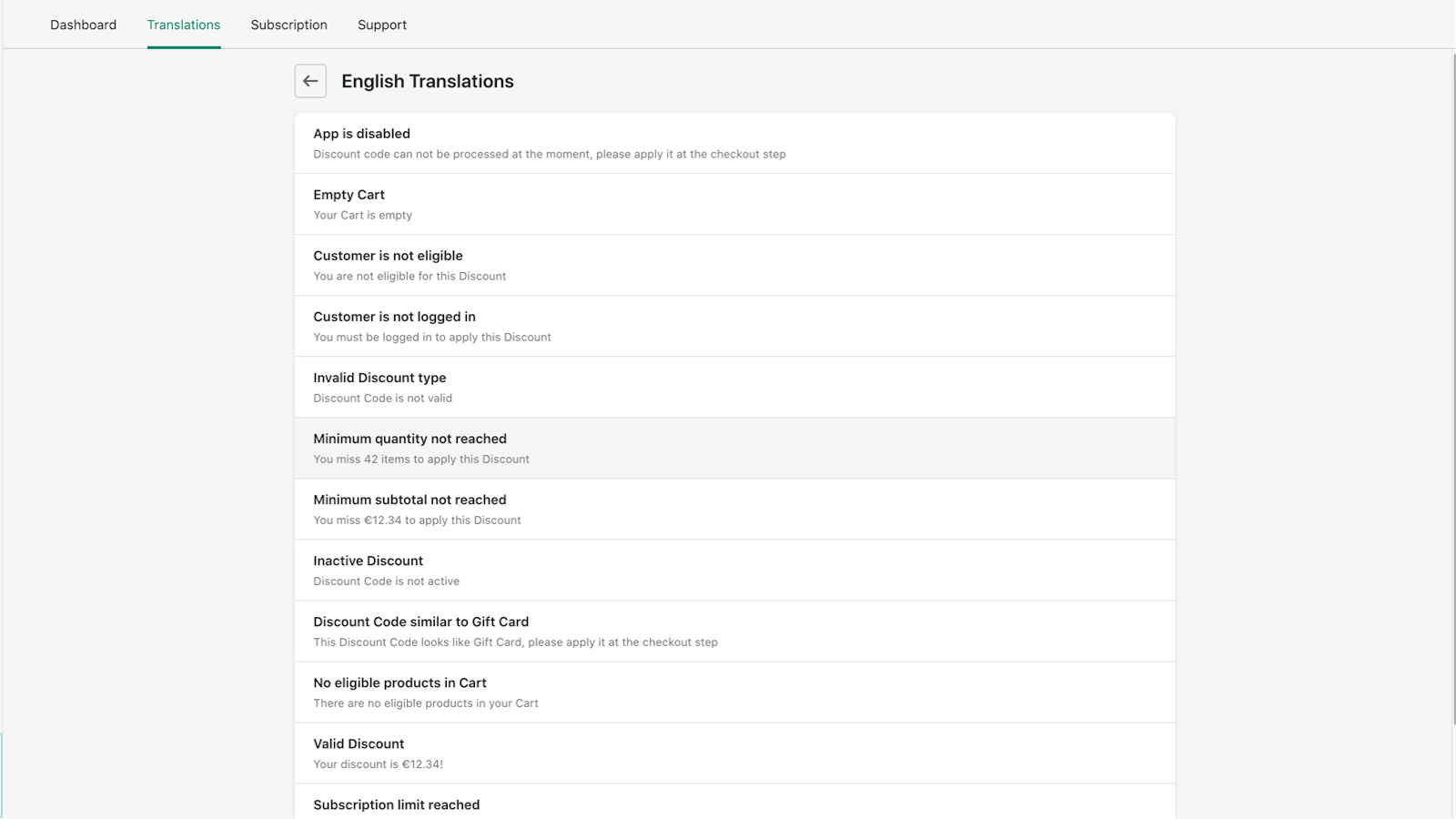 Translations for each language