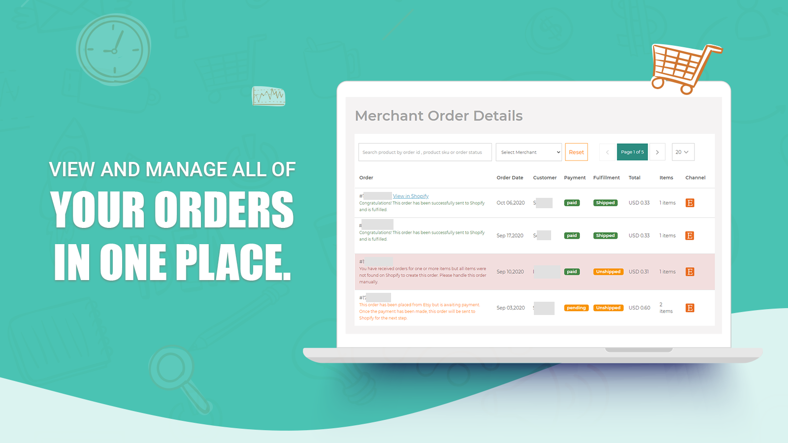 view and manage orders