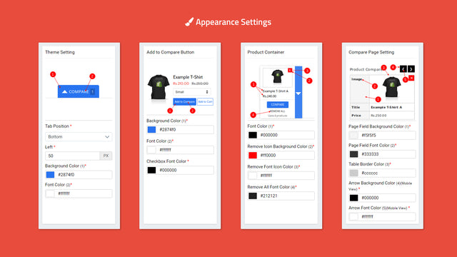 Appearance settings for product compare app widget to display