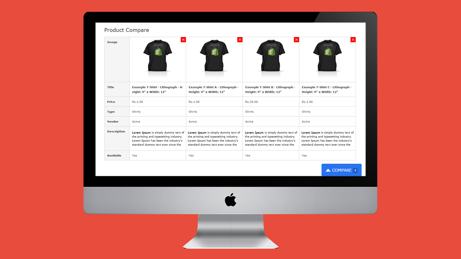 how compare page will look upon product comparison