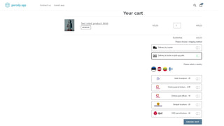 Delivery method selection in cart view.