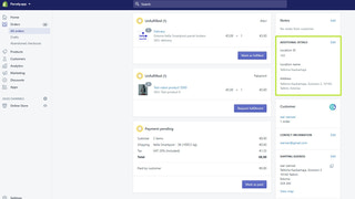 Order view with parcel locker location information.
