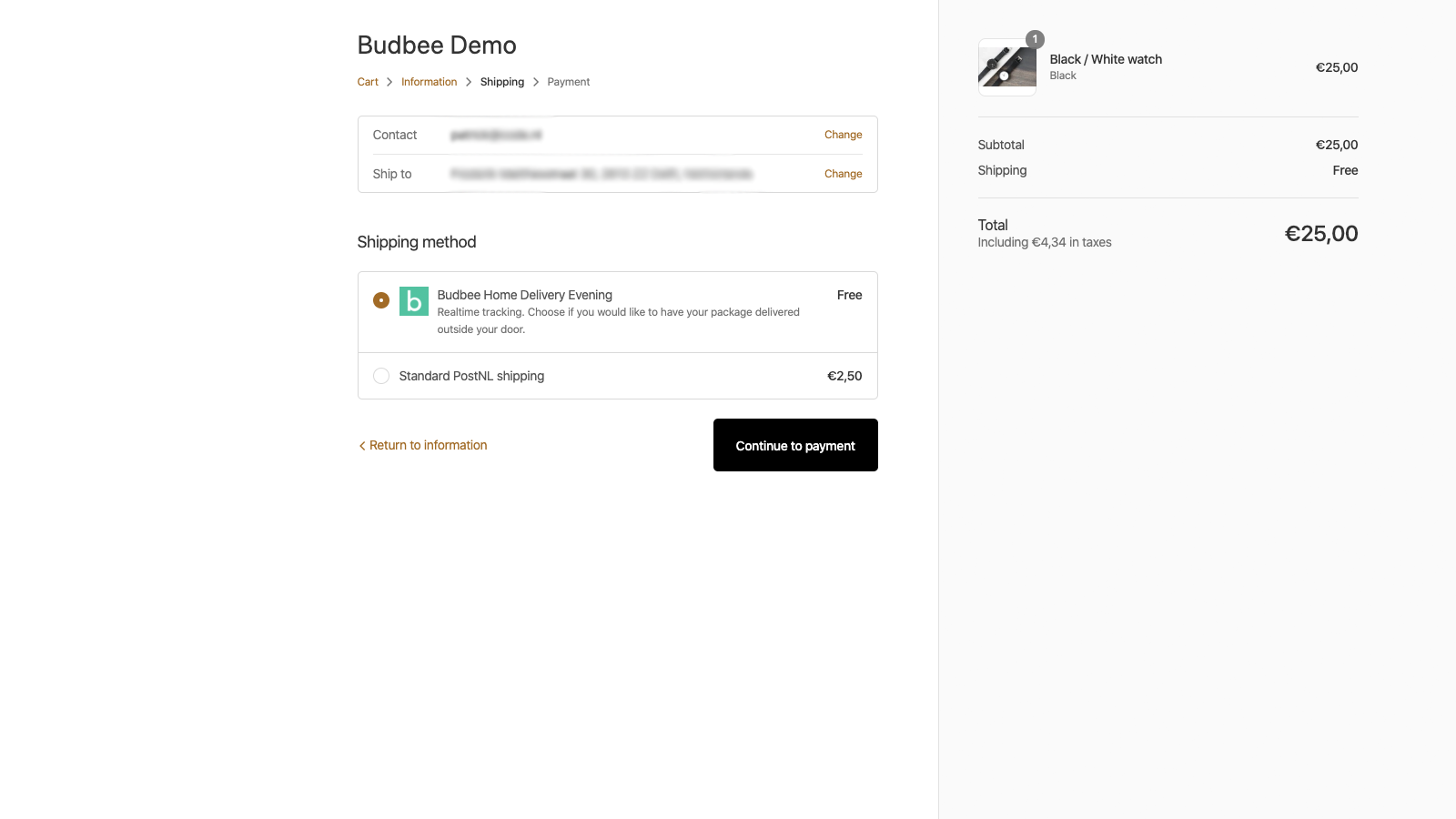 When in a Budbee supported area, the Budbee option is shown