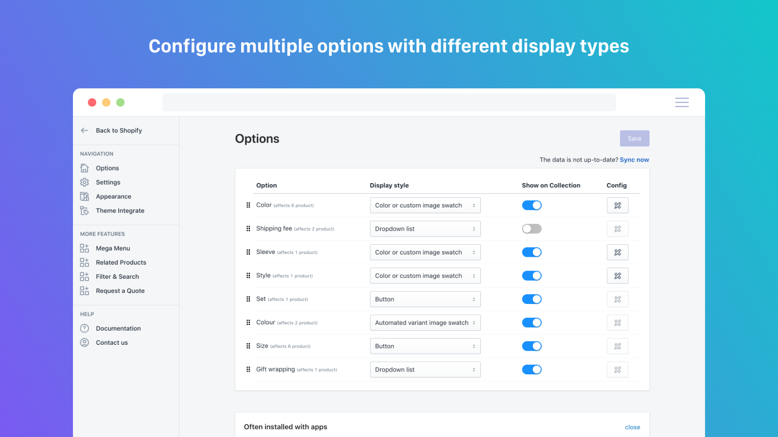 Configure multiple option with different display types