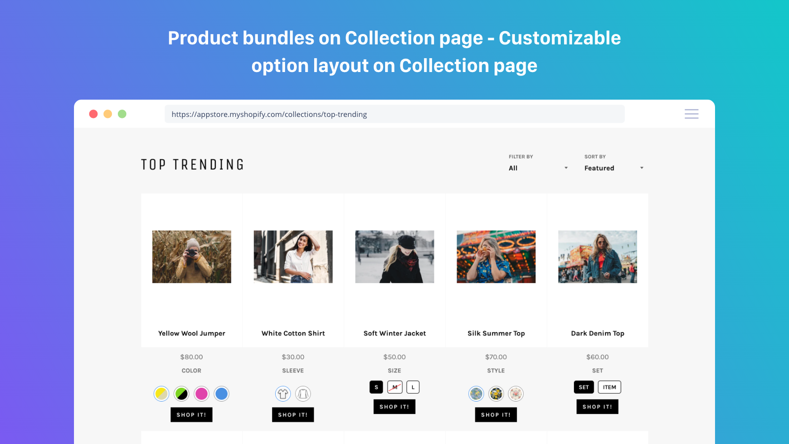 Product variants on collection page