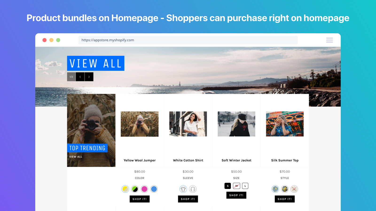 Product variant on home page