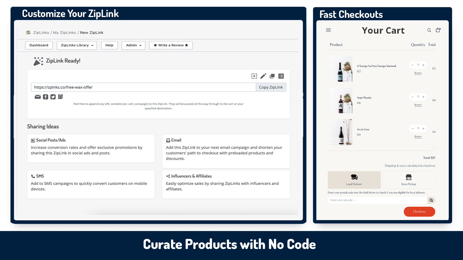 quickly configure and preload links with the app, share anywhere