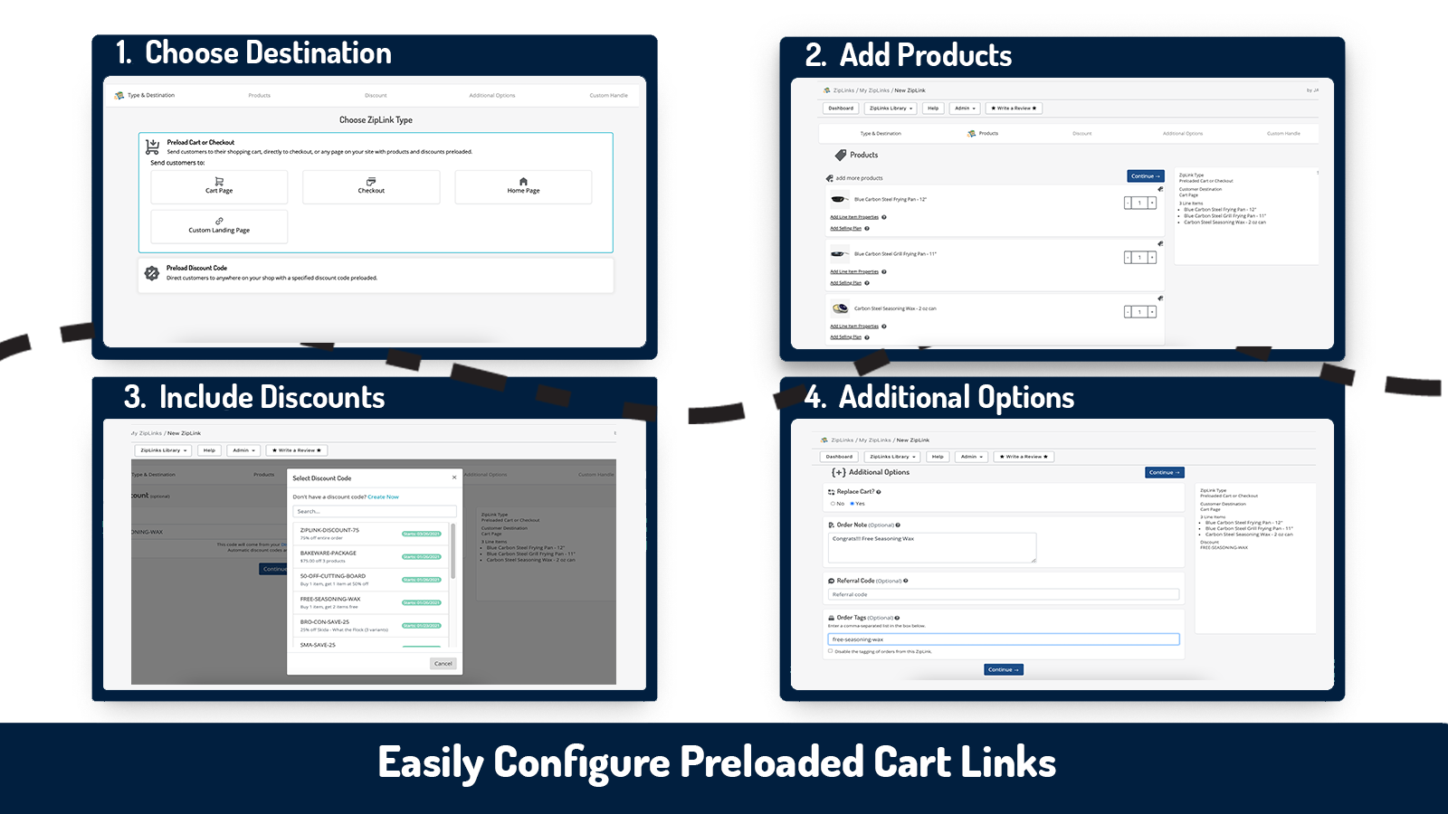 build direct to checkout and preloaded cart links with ziplinks