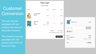 Example cart and checkout with discounts applied.