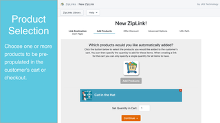 Pre-populate cart or checkout with one, or more, products.