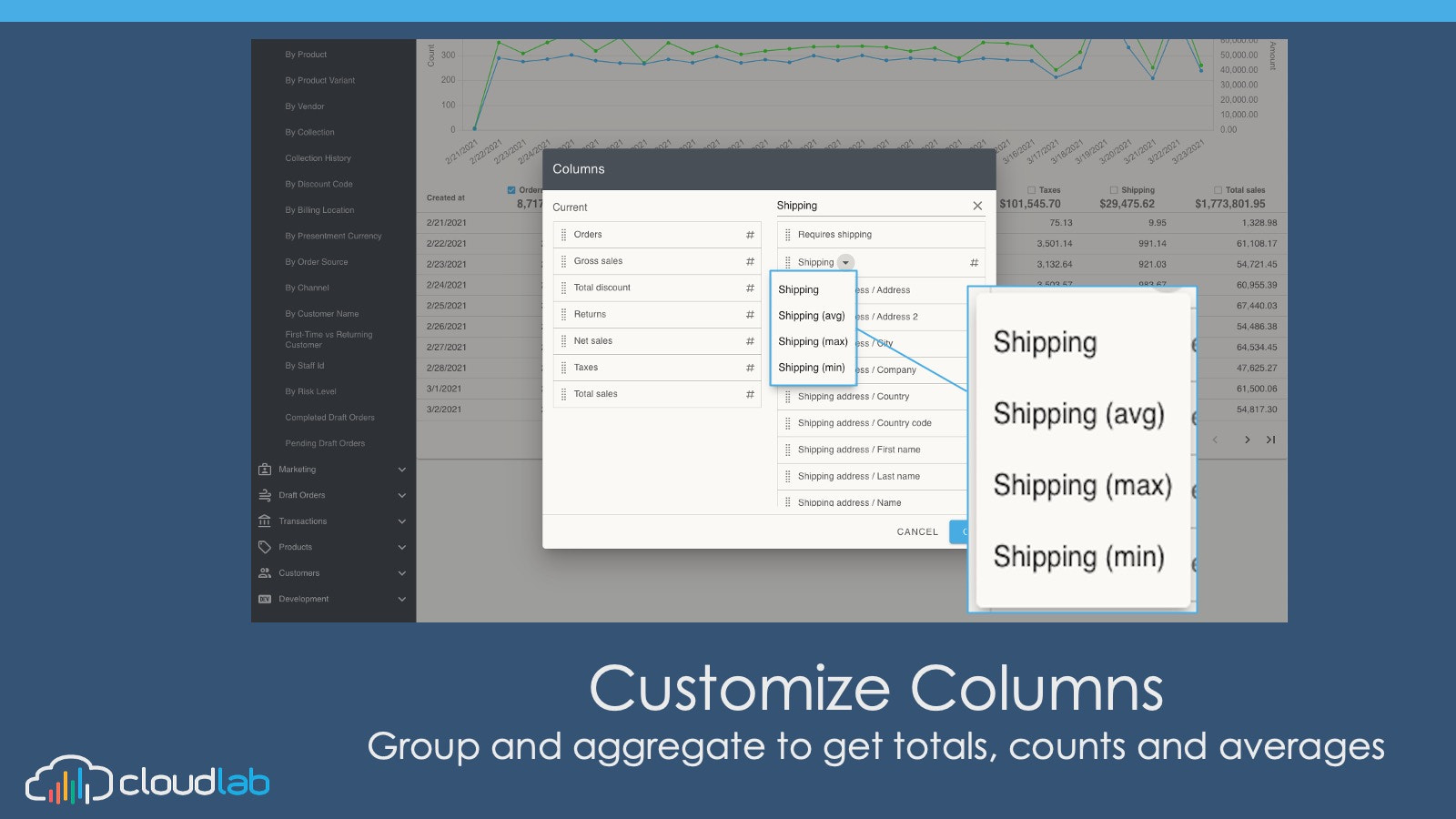 Customize Columns- Group to get totals, counts and