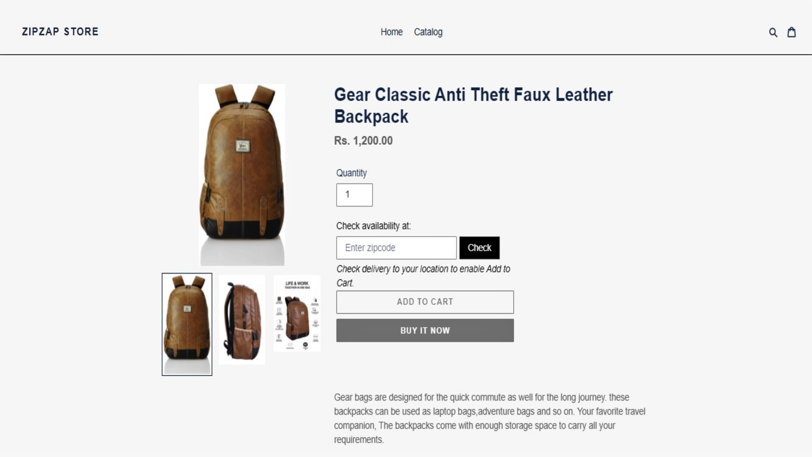 Product page where the widget is placed.