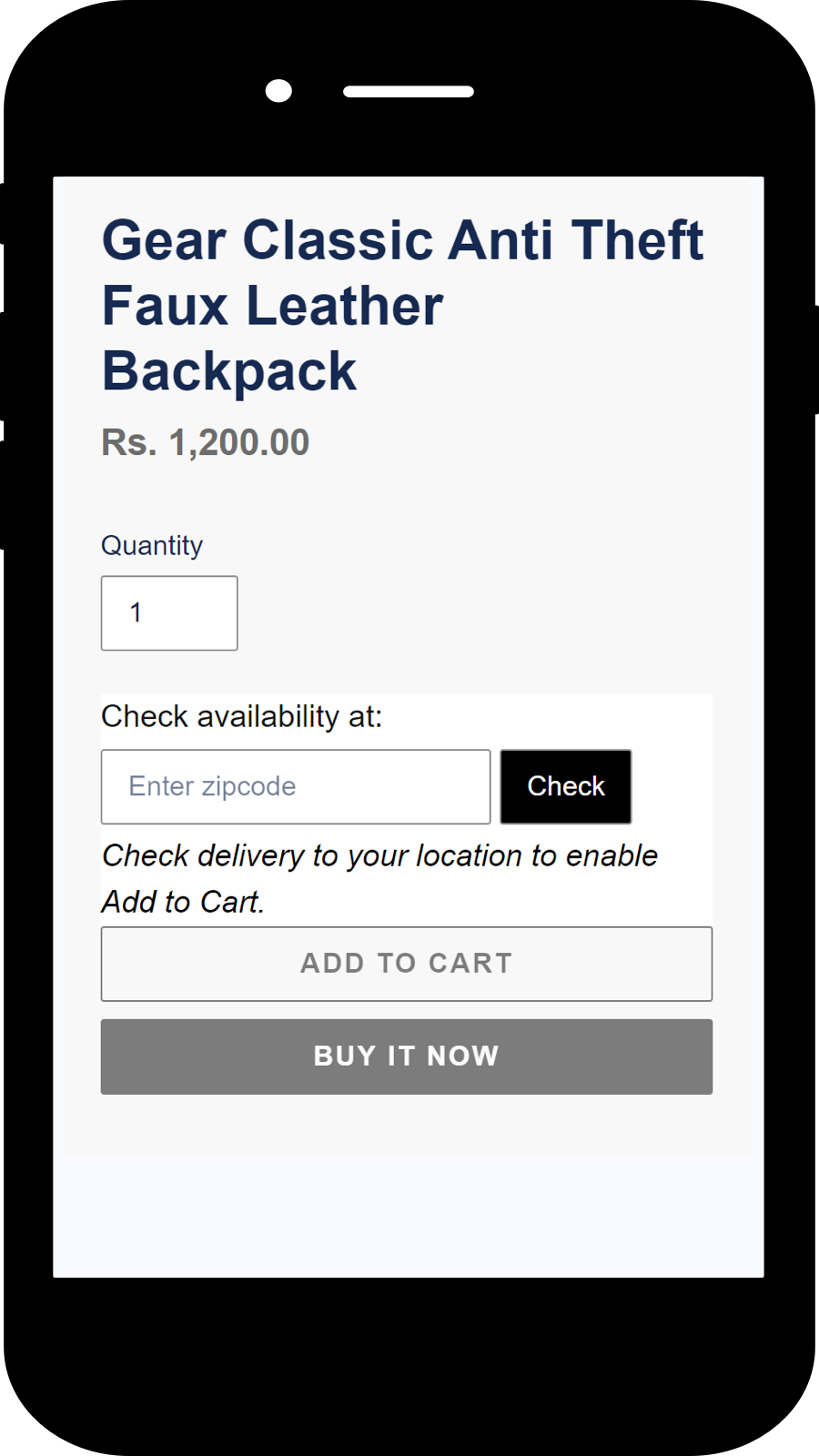 Mobile view of the widget on the product page.