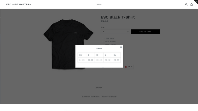 Easy-to-install size chart popups for a better customer experien