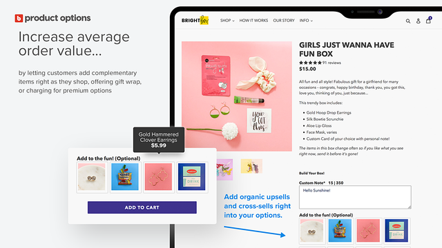 Brightboxes add on paid options with Bold product options