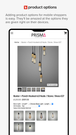 Prisma lighting mobile view of product options