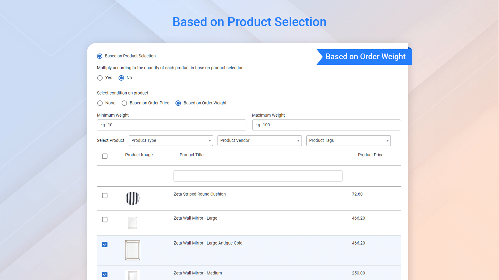 Shipping based on product selection with order weight