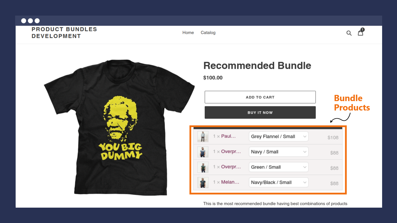 Bundle on the Product page