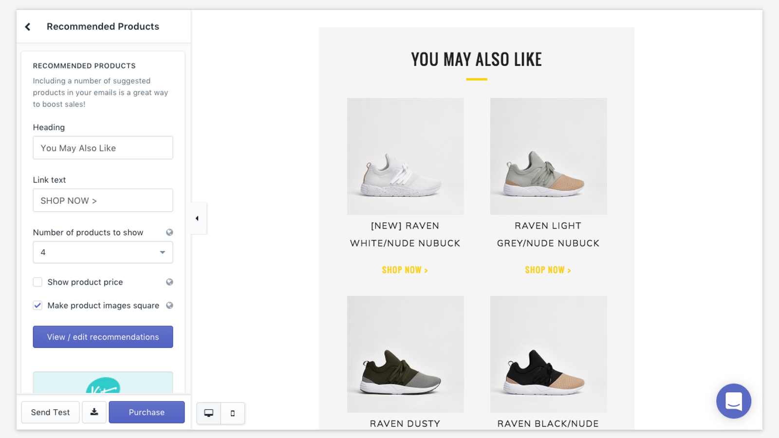 Email templates for Shopify, recommended products