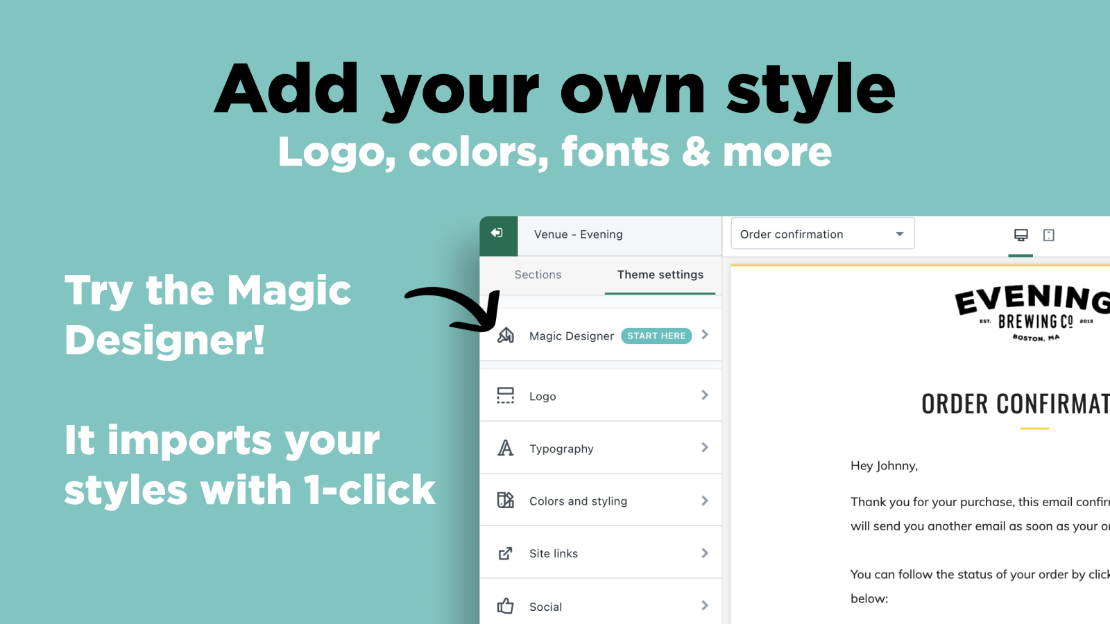 OrderlyEmails: Add your own styles. Logo, colors, fonts & more